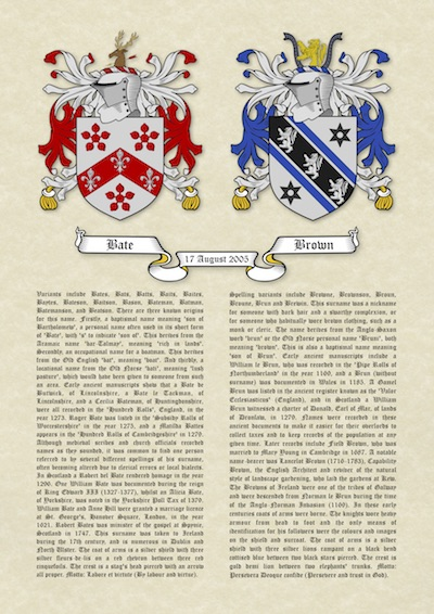 ec13d377acada A3 Double Coats of Arms (Family Crests) with Surname Histories on Parchment  Paper (